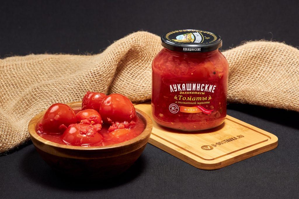 """Томаты в томатной мякоти """"Южные"""", 670 г, Лукашинские деликатесы."""