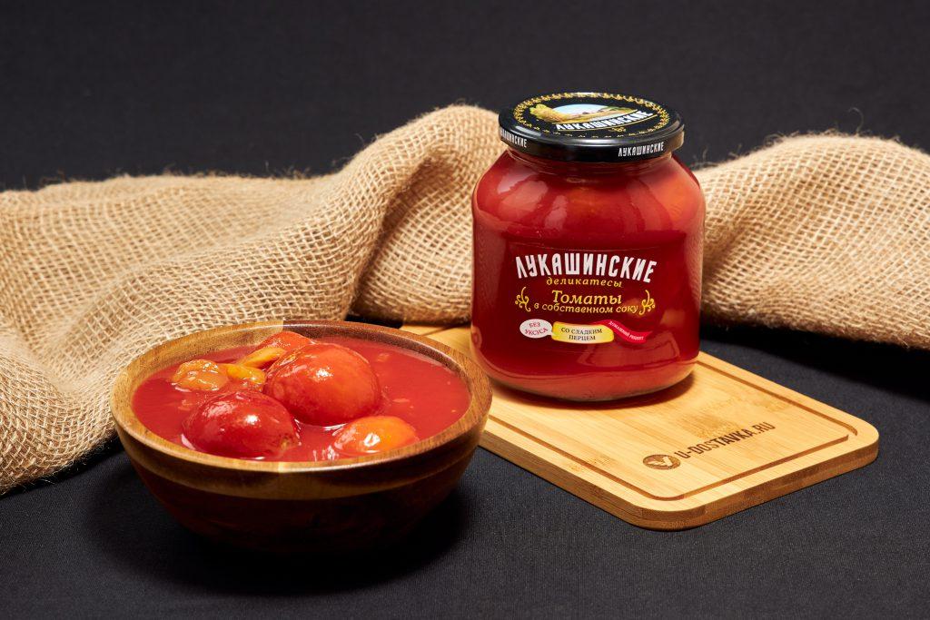 Томаты в собственном соку со сладким перцем, 670 г, Лукашинские деликатесы.